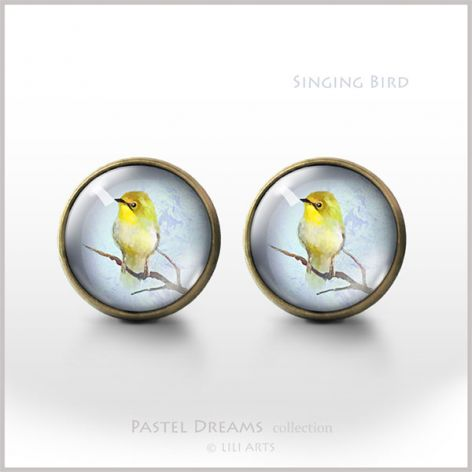 Śpiewający ptaszek - antyczny brąz - kolczyki wkrętki