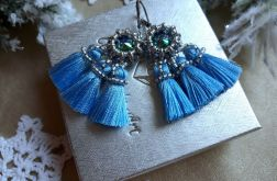 kolczyki z kryształem Swarovski - niebieskie