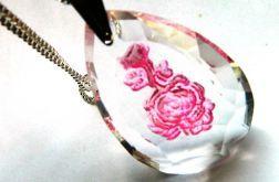 Kryształ - brylantowy szlif, grawerowana róża