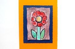 Kartka oranż z kwiatkiem nr 8