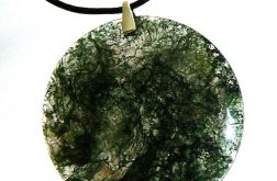 Zielony agat mszysty, duży wisior, srebro
