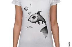 Ryba - koszulka oversize - biała