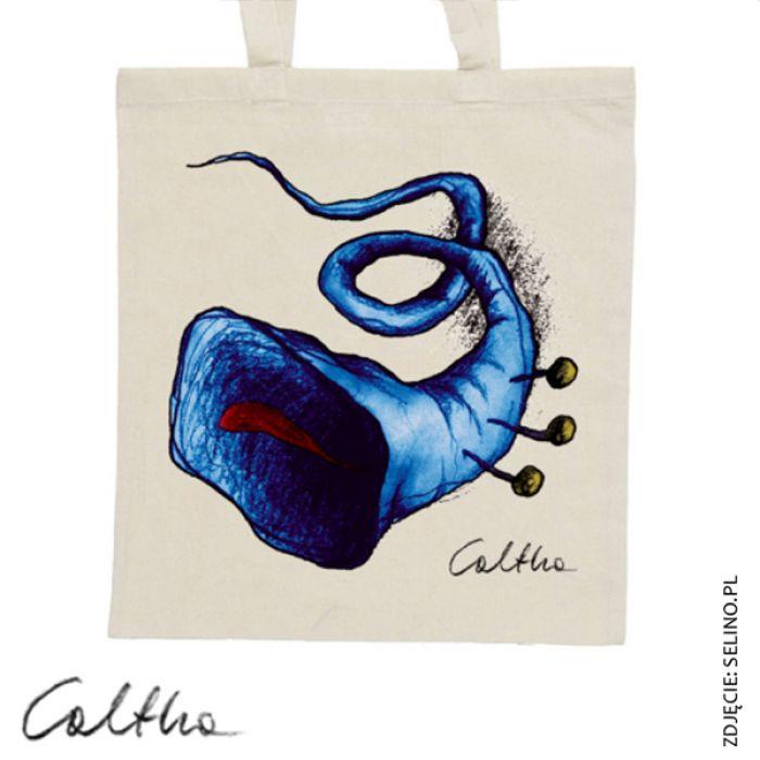 Niebieska trąbka - torba z nadrukiem czarna