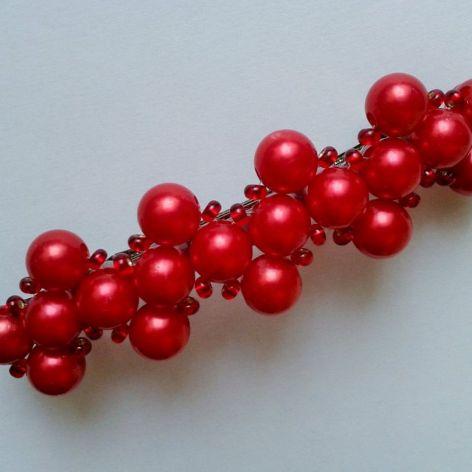 Spinka do włosów czerwone perełki