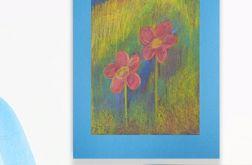 Rysunek kwiaty na niebieskim tle nr 8 szkic