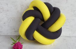 Poduszka precel szaro-żółta