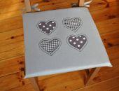 Poduszki na krzesła, siedzisko - serca szare 4 szt