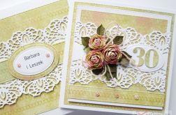 Kartka ROCZNICA ŚLUBU zielono-różowa