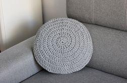 Okrągła poduszka ze sznurka baw. szara