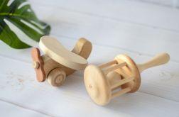 Drewniany samolot i grzechotka - zestaw