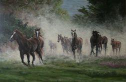 Obraz recznie malowany KONIE W GALOPIE  największy UNIKAT!