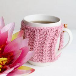 Kubek w sweterku - pudrowy róż