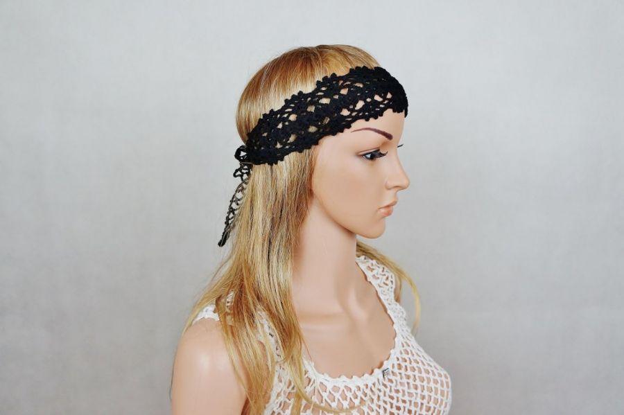 Opaska handmade czarna - opaska na głowę