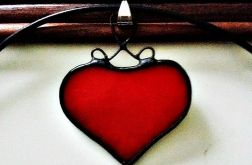Wisior Szklane Serce , Tiffany , witraż