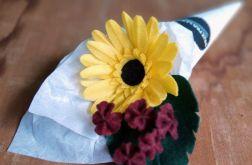 Gerbera - kwiat z filcu - żółty