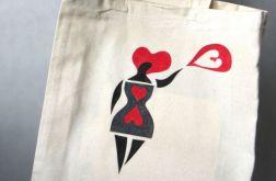 Kocham zakupy, torba bawełniana ręcznie malow