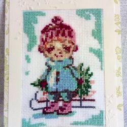 Kartka bożonarodzeniowa - Chłopiec z choinką