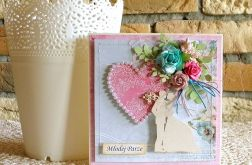 Kartka ślubna - perłowe serce