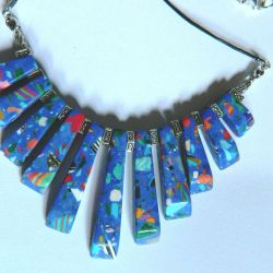 Niebieski jaspis tęczowy w srebrze,naszyjnik