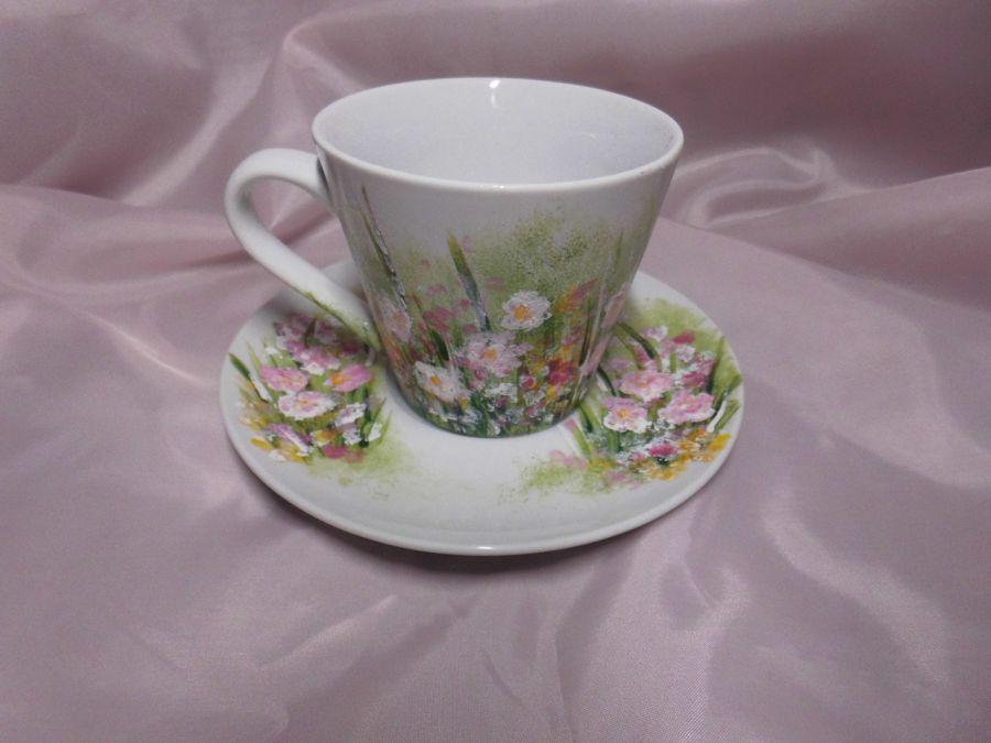 Filiżanka ręcznie malowana różowe kwiatki - filiżanka ręcznie malowana