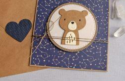 miś Kosmonauta - kartka na roczek, narodziny