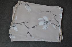 4 podkładki pod talerze - magnolie na beżu