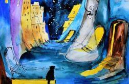 """Akwarela """"Kocie opowieści"""" artystki A.Laube"""