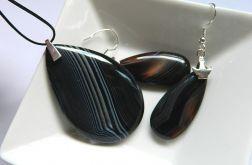 Biżuteria z czarnymi agatami,zestaw w srebrze