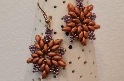 Kolczyki koralikowe - Stare złoto