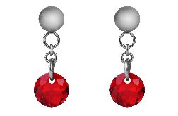 Kolczyki z czerwonymi kryształami Swarovskiego