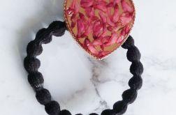 Gumka do włosów z kwiatami w żywicy -róż