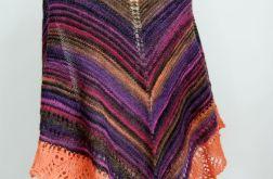 Barwna chusta w paski z ażurem
