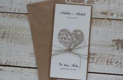 Rustykalna kartka ślubna z personalizacją