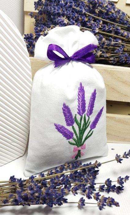 woreczek zapachowy - haft lawendowy bukiet