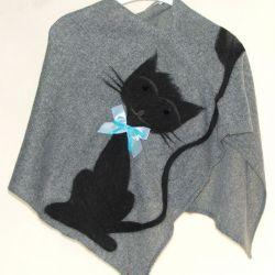 Ponczo dla dziewczynek z kotkiem 1