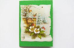 Zielona kartka świąteczna vintage 1