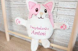 Kotek przytulanka maskotka z imieniem, dedykacją