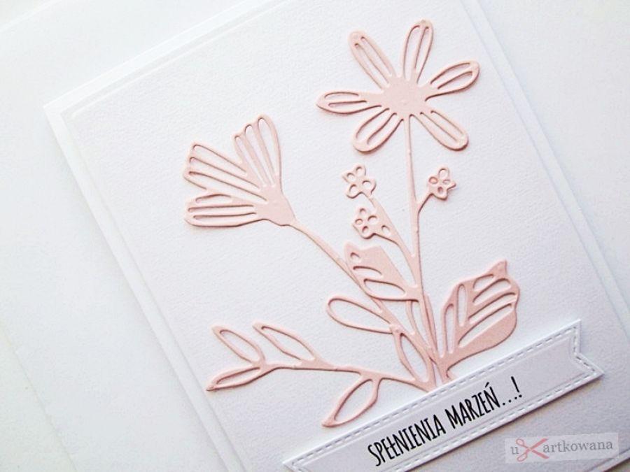 Kartka UNIWERSALNA - łososiowe kwiaty -