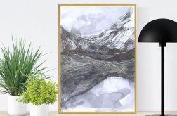 Oprawiony biało-czarny obraz górski n(23)