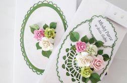 Kartka MŁODEJ PARZE biało-zielona