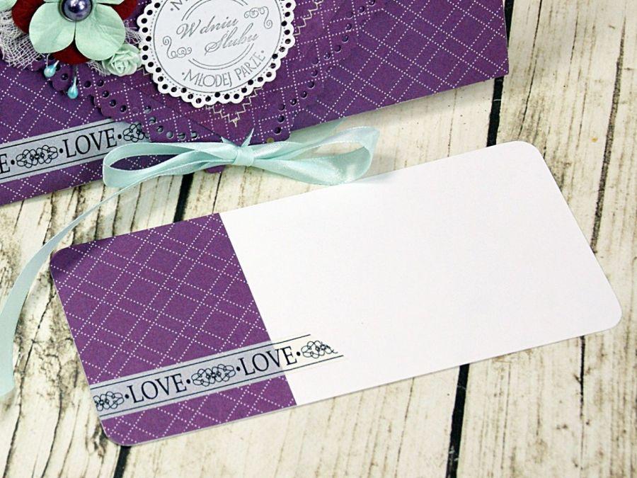 Kartka ślubna- ametystowe turkusy