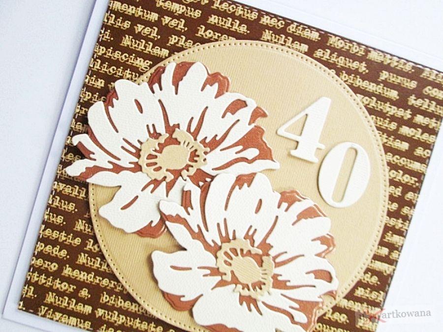 Kartka URODZINOWA - miedziano-kremowe kwiaty - Kartka z miedziano-kremowymi kwiatami
