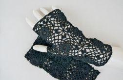 Rękawiczki, mitenki szydełkowe czarne