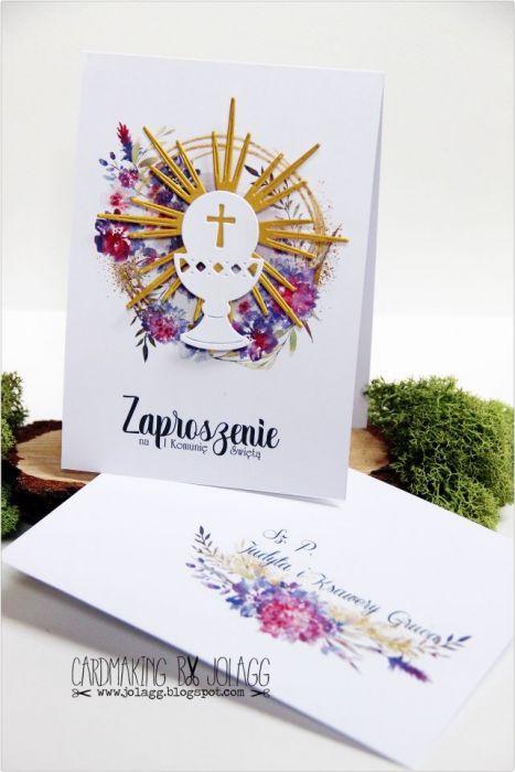 Zaproszenie na komunię-kielich-koperta - null
