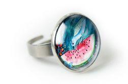 Arbuz pierścionek regulowany z ilustracją