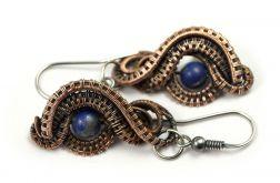Lapis lazuli, miedziane kolczyki z lapisem
