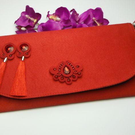 Biżuteria sutasz kopertówka kolczyki czerwone