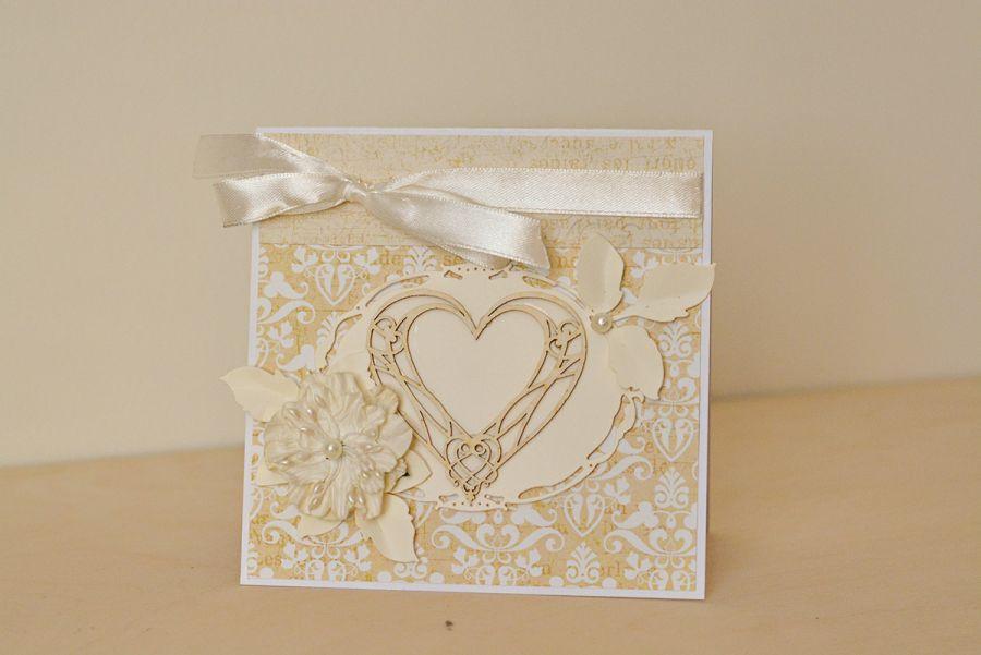 Kartka ślubna w kopercie  z sercem - Kartka ślubna scrapbooking