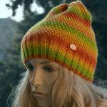 Wełniana czapka zielony, żółty, pomarańcz
