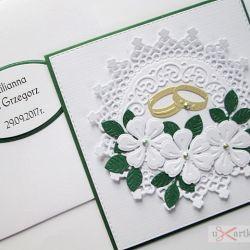 Kartka W DNIU ŚLUBU biało-zielona